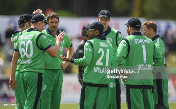 Dublin Ireland 14 May 2017 Simi Singh of Ireland is congratulated by his teammates after catching George Worker of New Zealand during the One Day...
