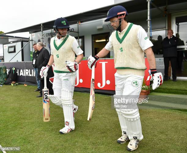 Dublin Ireland 14 May 2018 Ireland batsmen William Porterfield left and Ed Joyce take to the field prior to play on day four of the International...