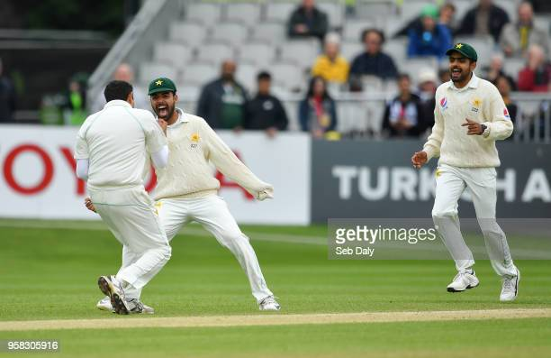 Dublin Ireland 14 May 2018 Mohammad Abbas of Pakistan left celebrates with teammates Shadab Khan centre and Babar Azam right after trapping Andrew...