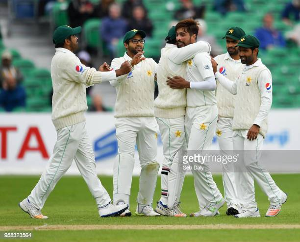 Dublin Ireland 14 May 2018 Mohammad Amir of Pakistan centre is congratulated by teammates after bowling out Niall O'Brien of Ireland during day four...