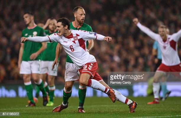 Dublin Ireland 14 November 2017 Andreas Christensen of Denmark celebrates after scoring his side's first goal during the FIFA 2018 World Cup...