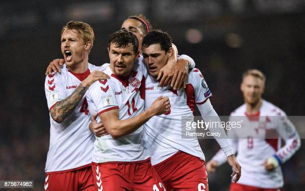 Dublin Ireland 14 November 2017 Andreas Christensen of Denmark is congratulated by teammates after scoring his side's first goal during the FIFA 2018...