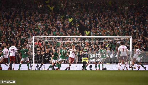 Dublin Ireland 14 November 2017 Andreas Christensen of Denmark scores his side's first goal during the FIFA 2018 World Cup Qualifier Playoff 2nd leg...