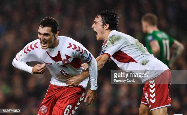 Dublin Ireland 14 November 2017 Andreas Christensen of Denmark celebrates with Thomas Delaney right after scoring his side's first goal during the...