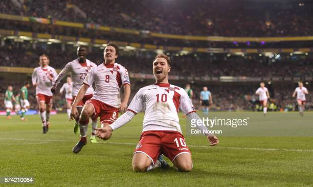 Dublin Ireland 14 November 2017 Christian Eriksen of Denmark celebrates after scoring his side's third goal during the FIFA 2018 World Cup Qualifier...