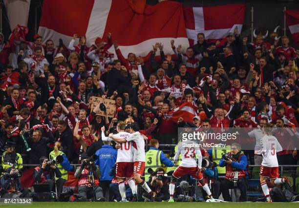 Dublin Ireland 14 November 2017 Christian Eriksen of Denmark scores his side's third goal with teamates during the FIFA 2018 World Cup Qualifier...