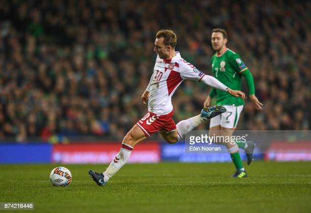 Dublin Ireland 14 November 2017 Christian Eriksen of Denmark scores his side's fourth goal during the FIFA 2018 World Cup Qualifier Playoff 2nd leg...