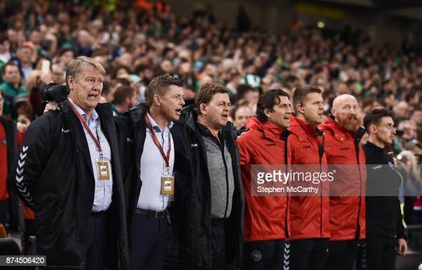 Dublin Ireland 14 November 2017 Denmark manager Aage Hareide and his backroom team during the FIFA 2018 World Cup Qualifier Playoff 2nd leg match...