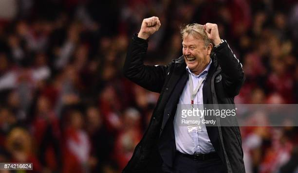 Dublin Ireland 14 November 2017 Denmark manager Aage Hareide celebrates his side's third goal during the FIFA 2018 World Cup Qualifier Playoff 2nd...