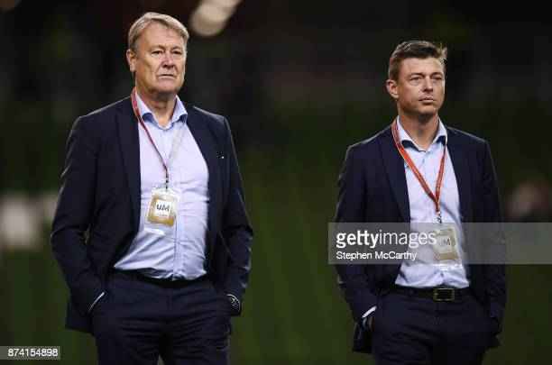 Dublin Ireland 14 November 2017 Denmark manager Aage Hareide left and assistant manager Jon Dahl Tomasson prior to the FIFA 2018 World Cup Qualifier...