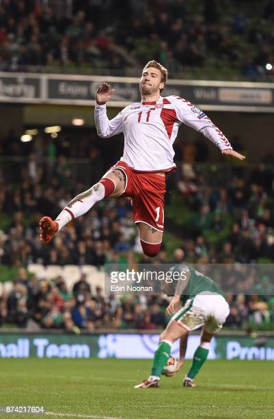 Dublin Ireland 14 November 2017 Nicklas Bendtner of Denmark celebrates after scoring his side's fifth goal during the FIFA 2018 World Cup Qualifier...