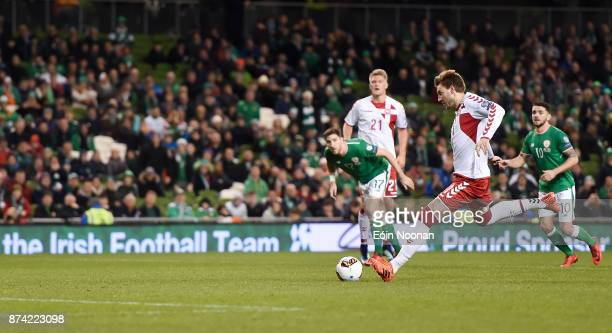 Dublin Ireland 14 November 2017 Nicklas Bendtner of Denmark scores his side's fifth goal during the FIFA 2018 World Cup Qualifier Playoff 2nd leg...