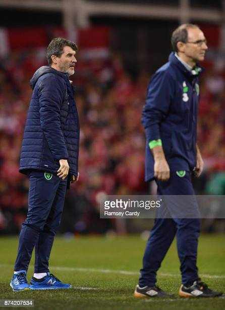 Dublin Ireland 14 November 2017 Republic of Ireland manager Martin O'Neill right and assistant manager Roy Keane during the FIFA 2018 World Cup...