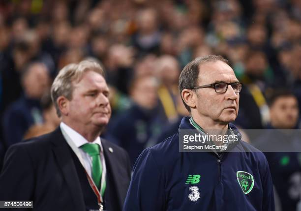 Dublin Ireland 14 November 2017 Republic of Ireland manager Martin O'Neill right and assistant coach Steve Walford during the FIFA 2018 World Cup...