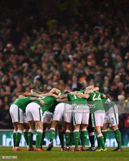 Dublin Ireland 14 November 2017 Republic of Ireland players during the FIFA 2018 World Cup Qualifier Playoff 2nd leg match between Republic of...