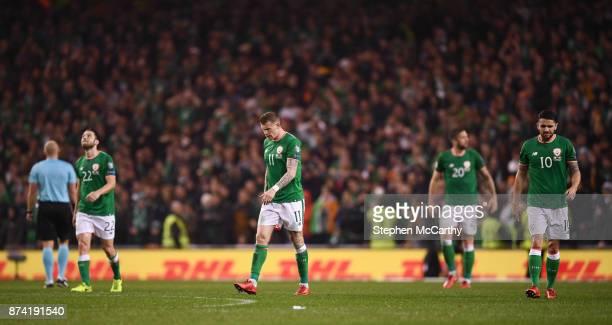 Dublin Ireland 14 November 2017 Republic of Ireland players from left Harry Arter James McClean Stephen Ward and Robbie Brady react to Denmark...