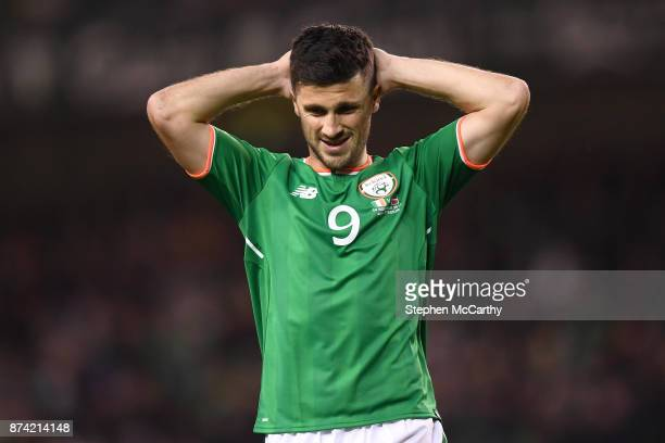 Dublin Ireland 14 November 2017 Shane Long of Republic of Ireland reacts to a missed chance during the FIFA 2018 World Cup Qualifier Playoff 2nd leg...