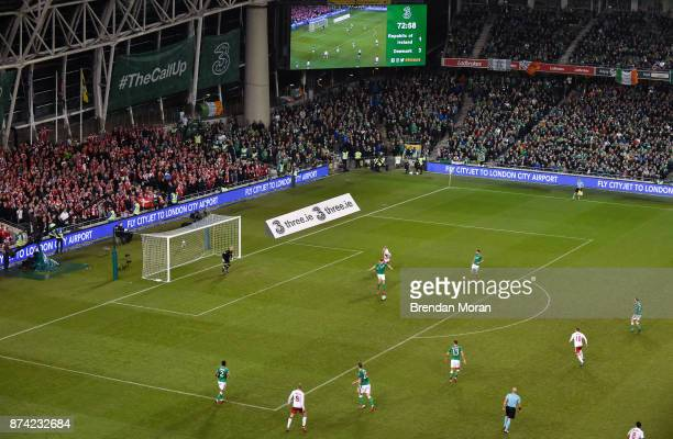 Dublin Ireland 14 November 2017 Stephen Ward of Republic of Ireland fails to clear the ball before Christian Eriksen of Denmark scores his side's...