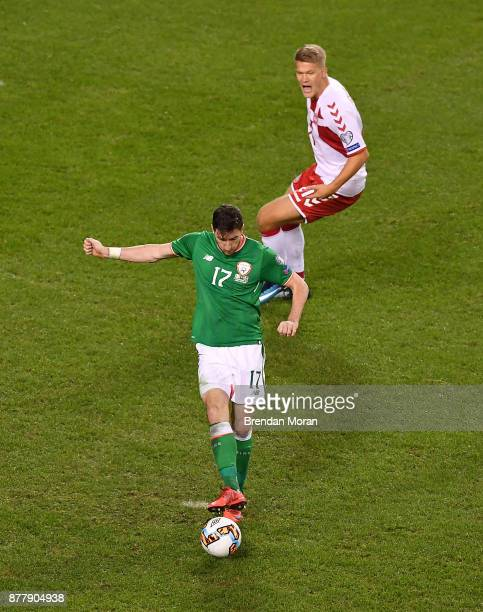 Dublin Ireland 14 November 2017 Stephen Ward of Republic of Ireland fails to clear the ball leading up to Denmark's fourth goal scored by Christian...