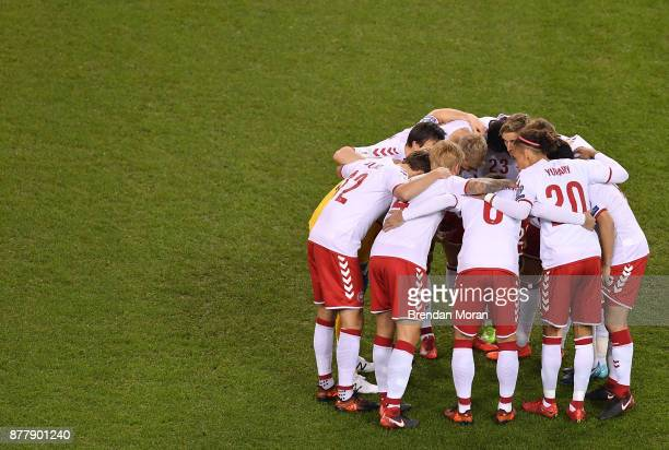 Dublin Ireland 14 November 2017 The Denmark team gather in a huddle prior to the FIFA 2018 World Cup Qualifier Playoff 2nd leg match between Republic...