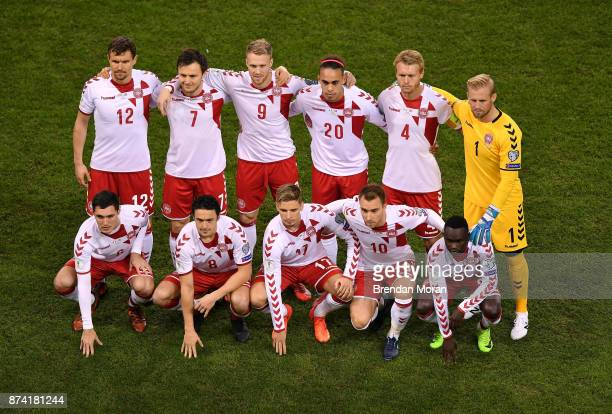 Dublin Ireland 14 November 2017 The Denmark team prior to the FIFA 2018 World Cup Qualifier Playoff 2nd leg match between Republic of Ireland and...