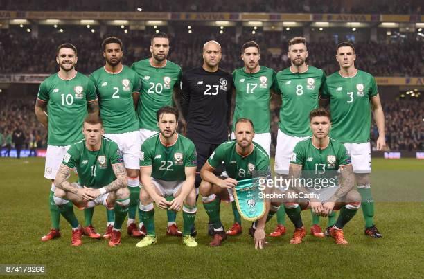 Dublin Ireland 14 November 2017 The Republic of Ireland team back row from left to right Robbie Brady Cyrus Christie Shane Duffy Darren Randolph...