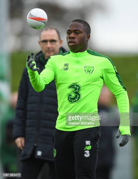 Dublin Ireland 14 November 2018 Michael Obafemi and Republic of Ireland manager Martin O'Neill during a training session at the FAI National Training...
