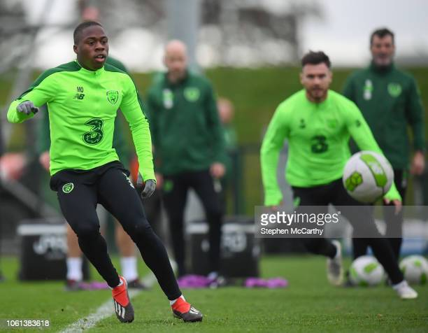 Dublin Ireland 14 November 2018 Michael Obafemi during a Republic of Ireland training session at the FAI National Training Centre in Abbotstown Dublin