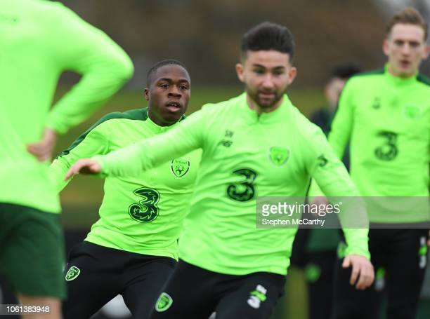 Dublin Ireland 14 November 2018 Michael Obafemi left and Sean Maguire during a Republic of Ireland training session at the FAI National Training...