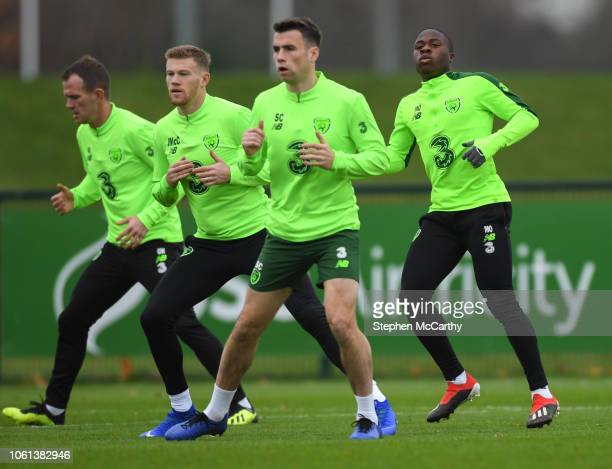 Dublin Ireland 14 November 2018 Republic of Ireland players from left Glenn Whelan James McClean Seamus Coleman and Michael Obafemi during a training...