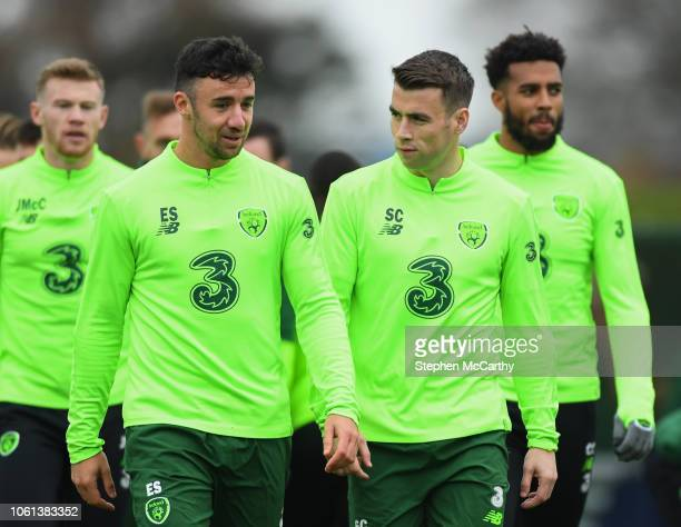 Dublin Ireland 14 November 2018 Republic of Ireland players from left James McClean Enda Stevens Seamus Coleman and Cyrus Christie during a training...
