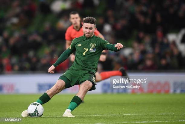 Dublin Ireland 14 November 2019 Sean Maguire of Republic of Ireland shoots to score his side's second goal during the 3 International Friendly match...