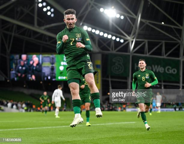 Dublin Ireland 14 November 2019 Sean Maguire of Republic of Ireland celebrates after scoring his side's second goal during the International Friendly...