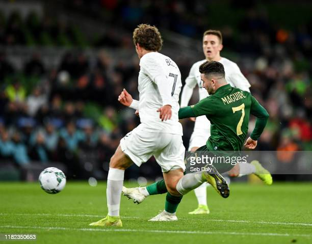 Dublin Ireland 14 November 2019 Sean Maguire of Republic of Ireland shoots to score his side's second goal during the International Friendly match...
