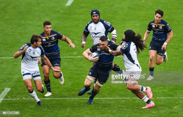 Dublin Ireland 14 October 2017 Jack Conan of Leinster is tackled by Joseph Tomane of Montpellier during the European Rugby Champions Cup Pool 3 Round...
