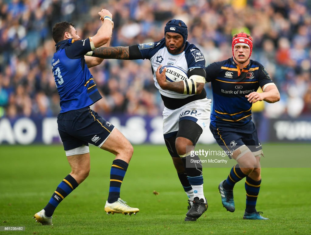 Dublin , Ireland - 14 October 2017; Nemani Nadolo of Montpellier pushes away the tackle of Robbie Henshaw of Leinster during the European Rugby Champions Cup Pool 3 Round 1 match between Leinster and Montpellier at the RDS Arena in Dublin.