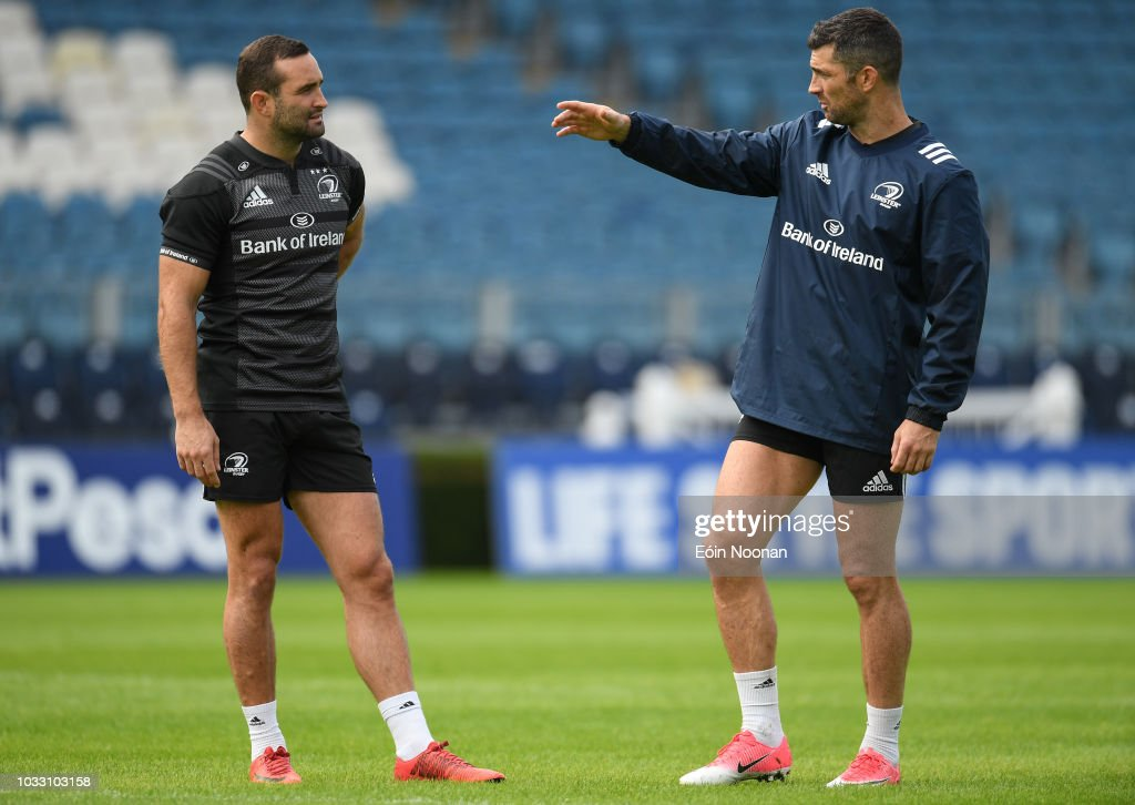 Dublin , Ireland - 14 September 2018; Dave Kearney, left, with Rob Kearney during the Leinster captains run at the RDS Arena in Dublin.