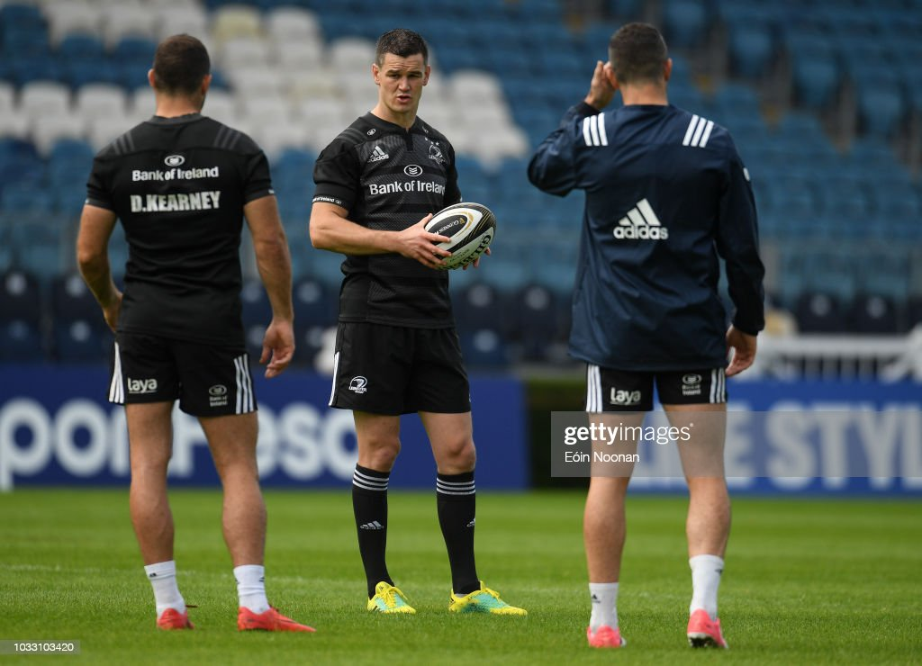 Dublin , Ireland - 14 September 2018; Jonathan Sexton, centre, with Dave Kearney, left, and Rob Kearney, right, during the Leinster captains run at the RDS Arena in Dublin.