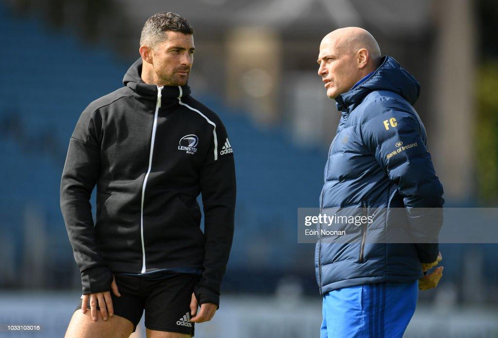 Dublin , Ireland - 14 September 2018; Rob Kearney with backs coach Felipe Contepomi during the Leinster captains run at the RDS Arena in Dublin.