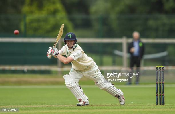 Dublin Ireland 15 August 2017 William Porterfield of Ireland hits a four after being bowled to by Logan Van Beek of Netherlands during the ICC...