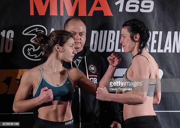 Dublin Ireland 15 December 2016 Elina Kallionidou left and Sinead Kavanagh during the Bellator 169 BAMMA 27 Weigh Ins at 3 Arena in Dublin