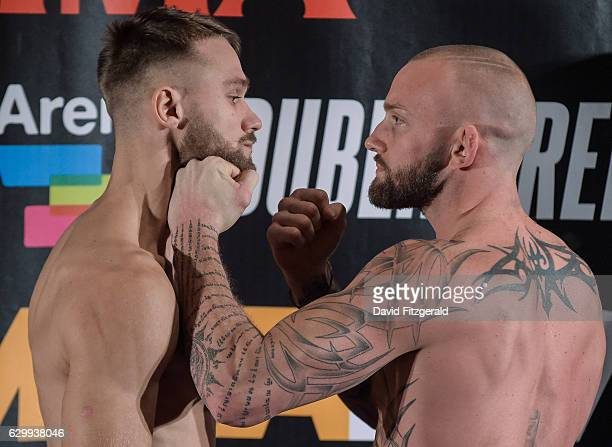 Dublin Ireland 15 December 2016 Terry Brazier right and Niklas Stolze during the Bellator 169 BAMMA 27 Weigh Ins at 3 Arena in Dublin