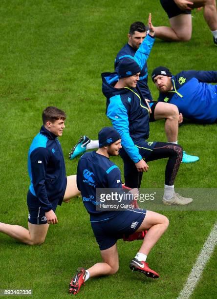 Dublin Ireland 15 December 2017 Garry Ringrose left Ross Byrne centre and Jonathan Sexton during the Leinster captain's run at the Aviva Stadium in...