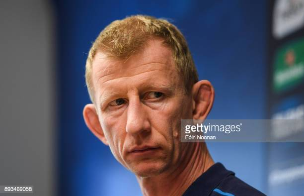 Dublin Ireland 15 December 2017 Head coach Leo Cullen during a Leinster rugby press conference in UCD Dublin