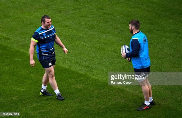 Dublin Ireland 15 December 2017 Jack McGrath left and Sean O'Brien during the Leinster captain's run at the Aviva Stadium in Dublin