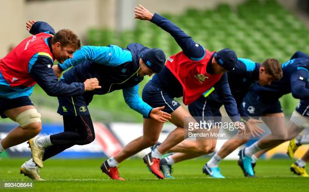 Dublin Ireland 15 December 2017 Jonathan Sexton 2nd from left with teammates Jordi Murphy Ross Byrne and Garry Ringrose during the Leinster captain's...