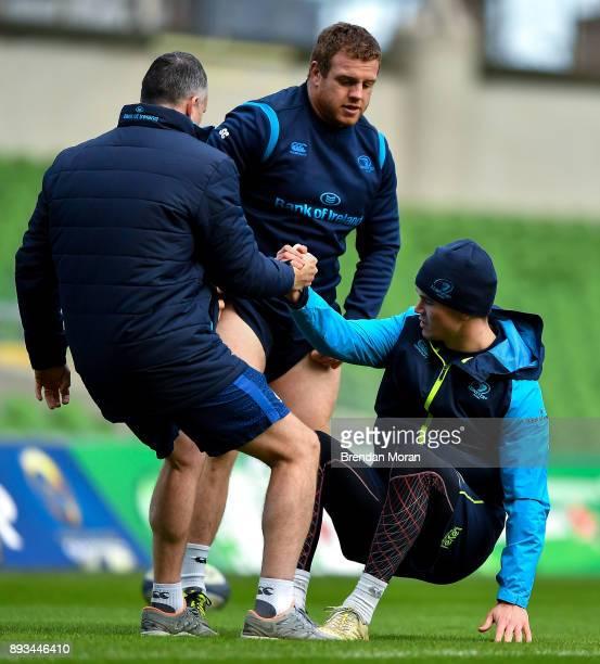 Dublin Ireland 15 December 2017 Jonathan Sexton with head physiotherapist Garreth Farrell during the Leinster captain's run at the Aviva Stadium in...