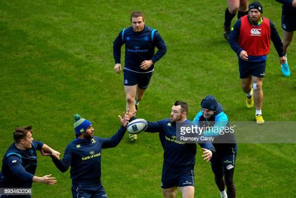 Dublin Ireland 15 December 2017 Leinster players from left Josh van der Flier Isa Nacewa Cian Healy and Jonathan Sexton during the Leinster captain's...