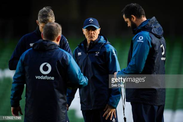 Dublin Ireland 15 February 2019 Head coach Joe Schmidt centre with backroom staff from left forwards coach Simon Easterby kicking coach Richie Murphy...