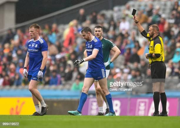 Dublin Ireland 15 July 2018 Owen Duffy of Monaghan receives a black card from referee Anthony Nolan during the GAA Football AllIreland Senior...